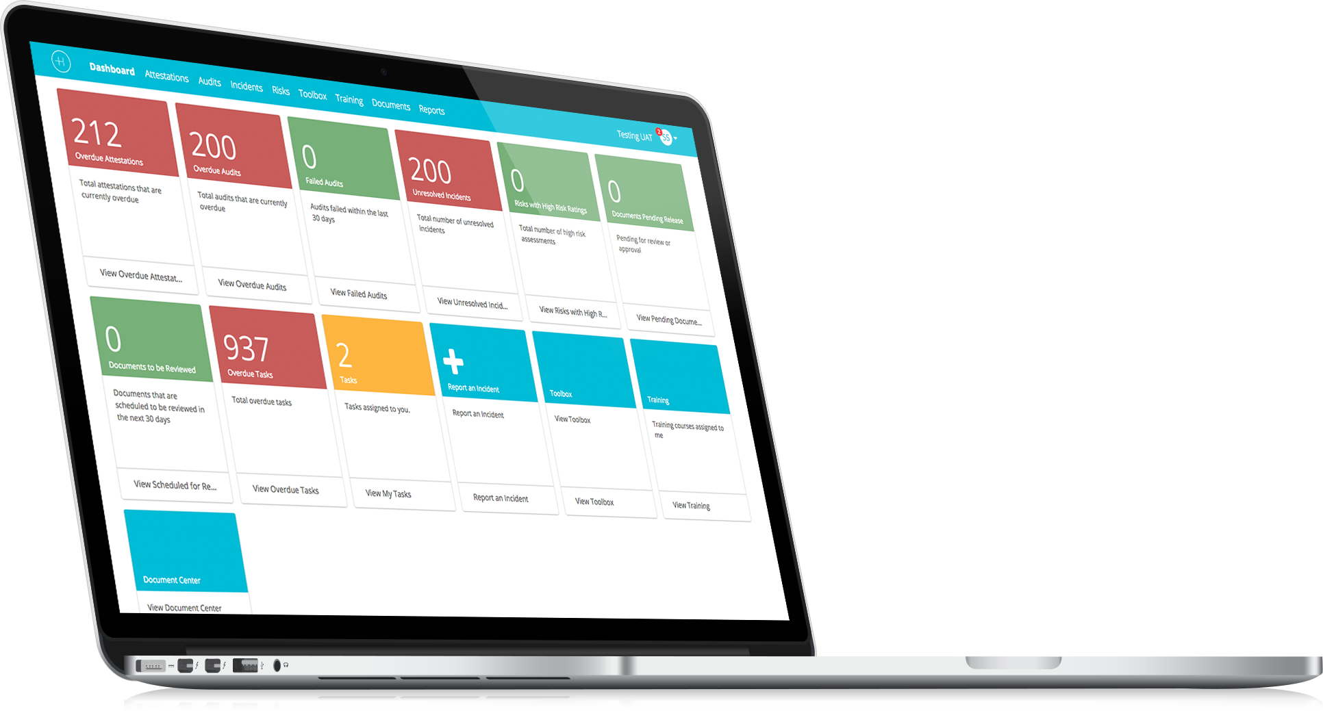 A screenhot of Healthicity's compliance software dashboard
